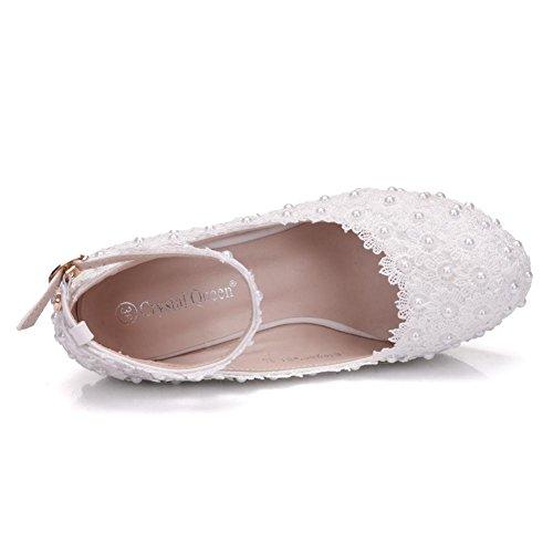 Boda Porciones Corte Zapatos Nupcial Mujer Tobillo Correa Plataforma Cordón Perla Blanco Vestir Noche Primavera Señoras Zapatillas tamaño 35-42 White