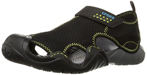 Crocs Men's Swiftwater Sandal,Black/Charcoal,11 M US