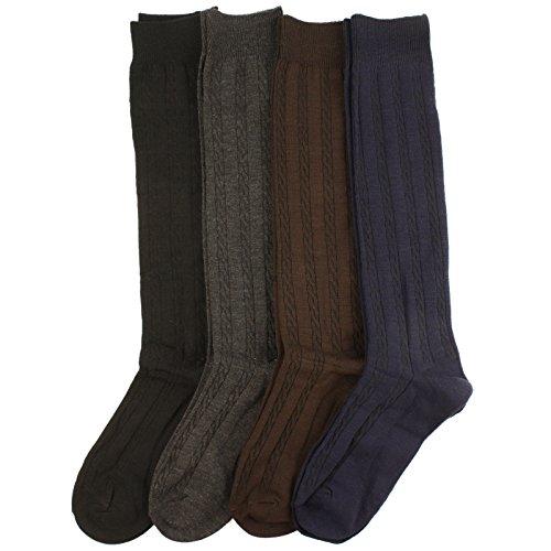 Ladies Girls 4 Pairs Cable Knit School Girl Knee Hi High Socks Solid Dark Colors