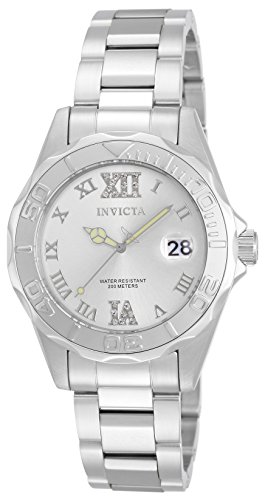 Invicta Women's 12851 Pro Diver Silver-Tone Watch with Crystal Accents