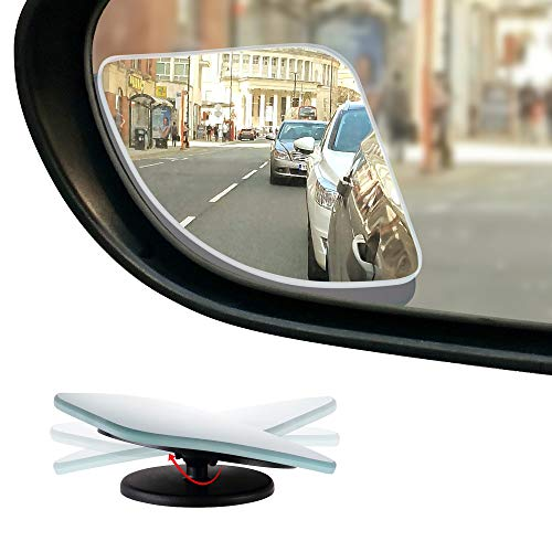 Dependable Direct HD Frameless Blind Spot Mirror - Fan Shaped 2.5 Convex Glass Mirror - Two-Way Design (Fixed and 360° Adjustable Angle Use) - Rear View - Pack of 2