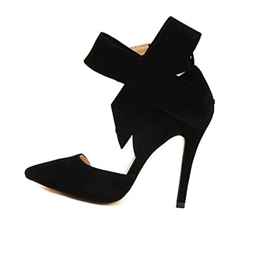 Big Black Heels High Pumps Suede Bowknot Shoes Oderola with Women's Pointy WpqvnHH8