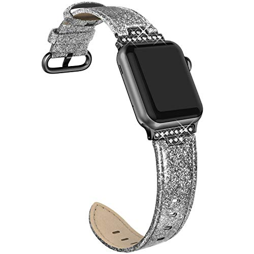 (SWEES Leather Band Compatible with Apple Watch 38mm 40mm, Genuine Leather Bling Dressy Diamond Strap Compatible with iWatch Series 4 Series 3 Series 2 Series 1, Sports & Edition Women, Glitter Black)