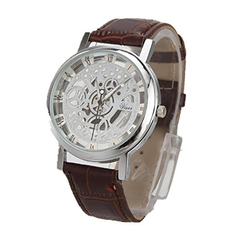 Price comparison product image Mens Watch, FimKaul Luxury Stainless Steel Quartz Military Sport Leather Band Dial Hollow Wrist Watch Valentine's Gift (L)