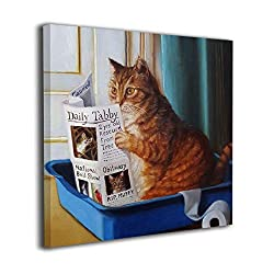 HIBIPPO Cat Toilet Reading Newspaper Paper Canvas Wall Art Prints Artwork Pictures Wall Decorations for Living Room Kitchen 20x20 Ready to Hang