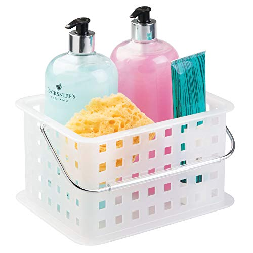 InterDesign Spa Plastic Storage Organizer Basket with Handle for Bathroom, Health, Cosmetics, Hair Supplies and Beauty Products, 9.25