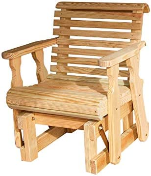 Amish Heavy Duty 600 Lb Roll Back Pressure Treated Glider Chair Unfinished