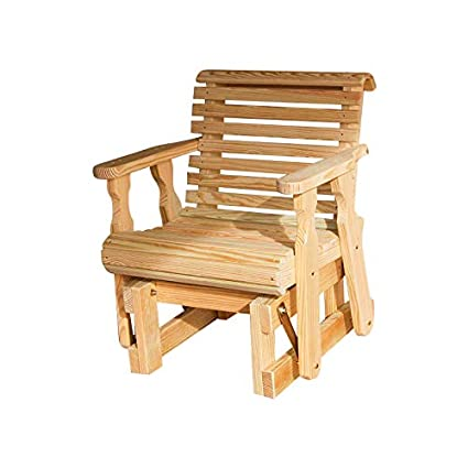 Amish Heavy Duty 600 Lb Roll Back Pressure Treated Glider Chair (Unfinished)