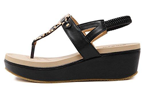 Sandal plate Wedge mousse 1 dqq forme String Femme en 1wOqnw4fgU