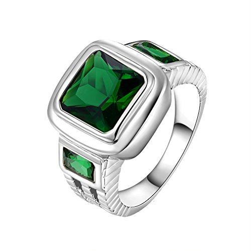 Suohuan Jewelry Men's Vintage White Gold Plated Square Cut Green Created Emerald & Cubic Zirconia Fashion Party Ring Band Size 12 (Cut Square Emerald)