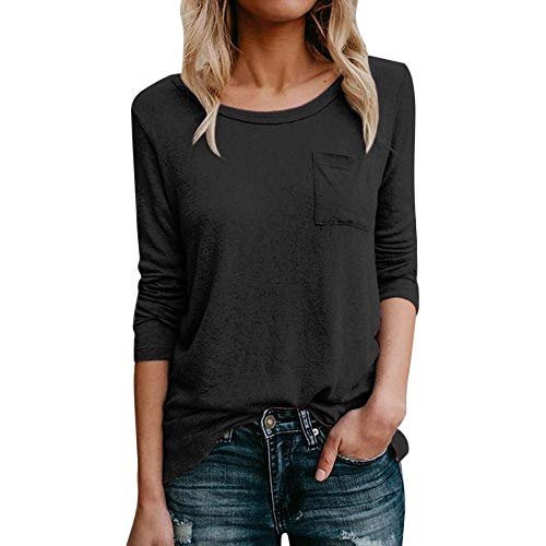 LYN Star✨ Womens Casual Color Block Long Sleeve Round Neck Pocket T Shirts Blouses Sweatshirts Tops Blouse Super Comfy Black (Gtx Bootie)