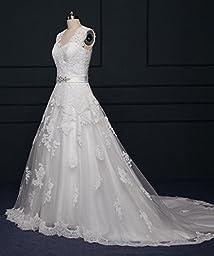TBB Double V-neck Sleeveless Lace applique And Satin A-line Wedding Dress (White) (20 Plus)
