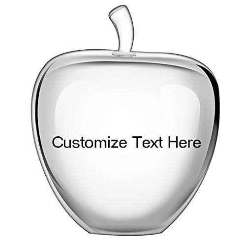 H&D HYALINE & DORA H&D Crystal Glass Apple Paperweight Home Decoration Teacher Appreciation Gifts (Clear+Customize ()