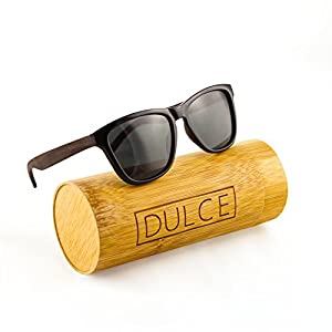 Polarized Wayfarer Sunglasses By Dulce | Handmade Rose Wooden Sunglasses, UAV UAB Protective with Bamboo Sunglasses Case