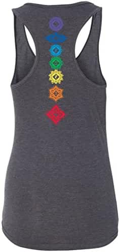 Yoga Clothing For You Ladies Floral Chakras Racer-back Tank Top