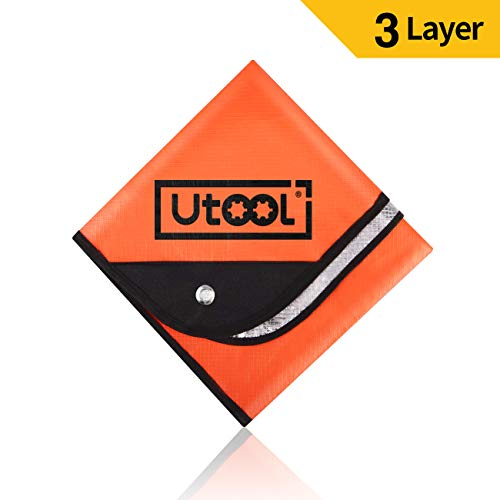 UTOOL Heavy Duty Emergency Blanket Tarp, Extra Large Thermal Reflective Survival Outdoor Emergency Blanket with Water Proof, 93% Heat Retention, Tear Resistant, Reusable Features, Orange