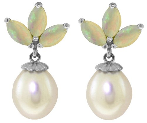 - 14k White Gold Cultured Pearl and Opal Stud Dangle Earrings