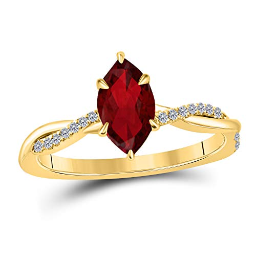 Jewelryhub 1.20 Ct Marquise Shape Created Red