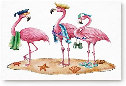 Welcome Doormat Funny Beach Pink Flamingos Home Decor Door Mats Indoor Kitchen Rugs Non Slip Bathroom Carpets Water Absorbent Bath Rug Cartoon Art 20×31.5inch