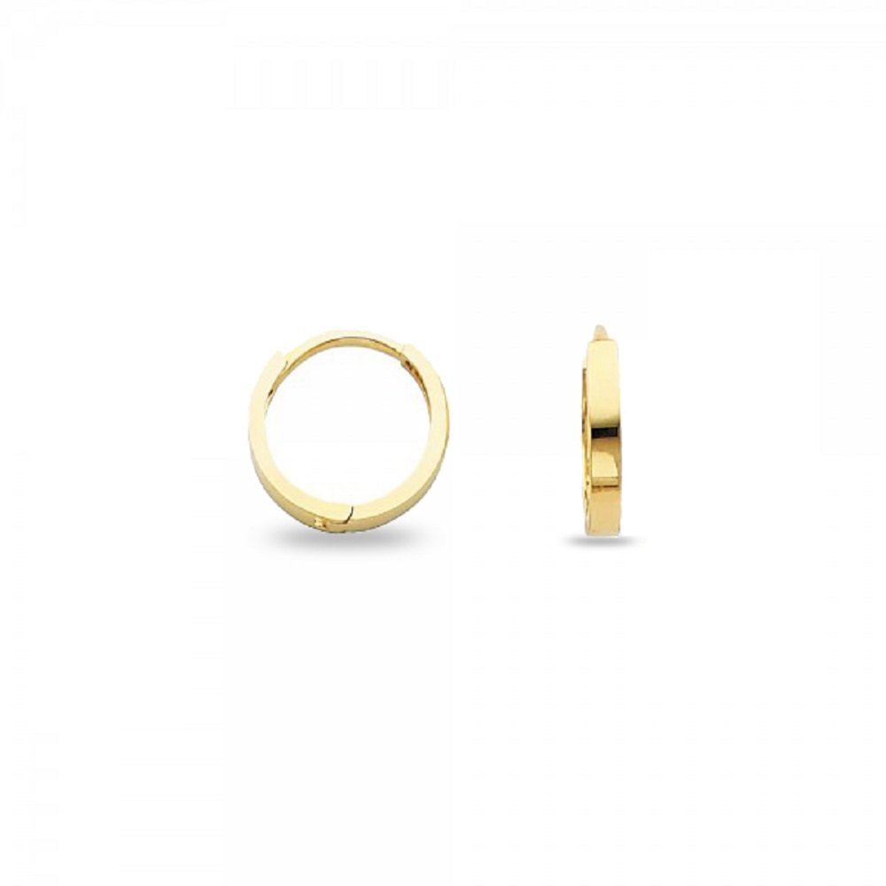 Round Huggie Hoop Earrings Solid 14k Yellow Gold Plain Square Tube Huggies Polished Small 11 x 2 mm GemApex 5122057