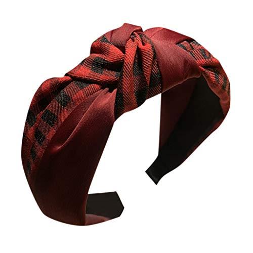 Women's Headband Hair Head Hoop Plaid Bow Cross Tie Hairbands Sweet Girls Hair Accessories (Red)