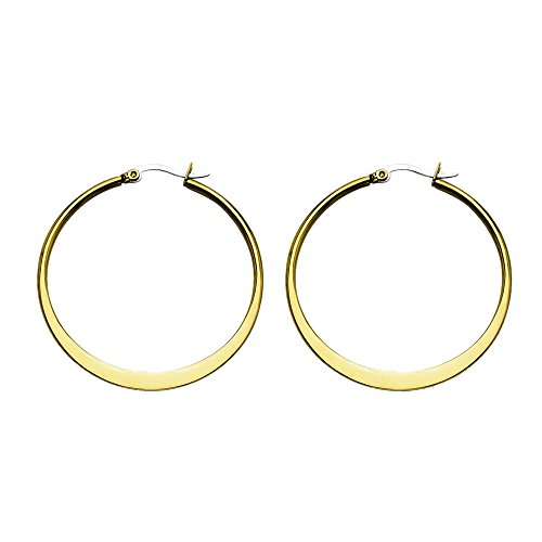 Stainless Steel Yellow Glossy Round Hoop Earrings - 43mm from Chisel