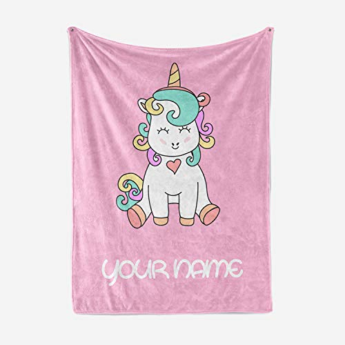 Personalized Corner Custom Pink Fluffy Fleece Throw Blanket for Girls Baby Bed - Plush Throws Couch Twin Size Blankets Room Decor (Child 50