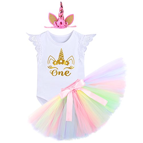 Unicorn Costume Baby Girls It's My First Birthday Outfit Romper + Tulle Tutu Skirt + Horn/Crown Headband 3PCS Set for Smash Cake Photo Shoot Party Dress up Clothes White for 12-18 Months ()