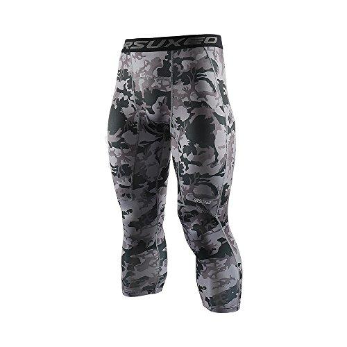 ARSUXEO Men's 3/4 Running Compression Tights Capri Pants K75 Mi Gray Size -
