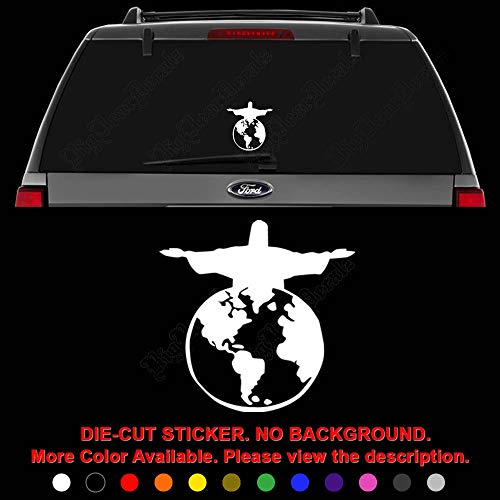 (Jesus Saves World Die Cut Vinyl Decal Sticker for Car Truck Motorcycle Vehicle Window Bumper Wall Decor Laptop Helmet Size- [8 inch] / [20 cm] Tall || Color- Gloss White)