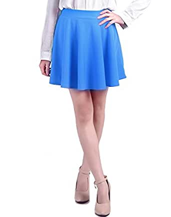 HDE Women's Jersey Knit Flare A Line Pleated Circle Skater Skirt (Light Blue, Small)