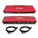 TESmart 4K 4x1 KVM Switch HDMI 4 Ports 3840x2160@30Hz with 2 Pcs 5ft KVM Cables Supports USB 2.0 Device Control up to 4 Computers/Servers/DVR, Aluminum Alloy Case 4 Input 1 Output hdmi kvm switche
