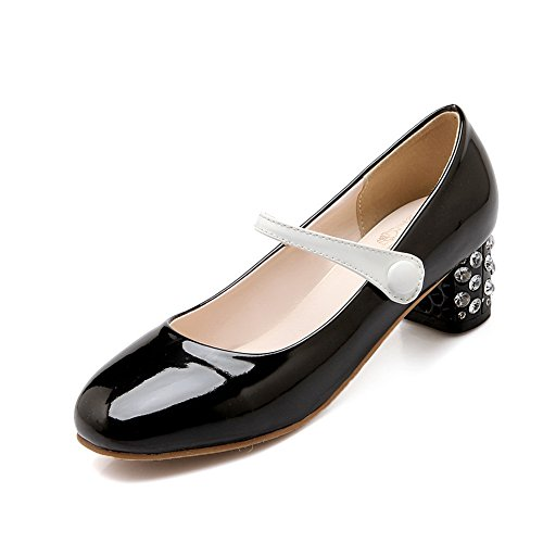 BalaMasa Girls Buttons Glass Diamond Color Matching Thick Bottom Heel Patent Leather Pumps-Shoes Black yp7zwO8
