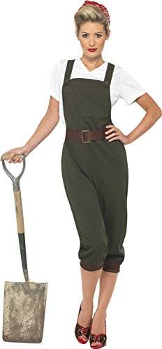 Smiffy's Women's WW2 Land Girl Costume, Top, Dungarees and Head Scarf, Wartime 40's, Serious Fun, Size 6-8, 39491
