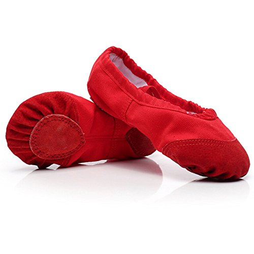 Bumud Womens Canvas Split-sole Ballet Shoes Slippers Red E89Gd
