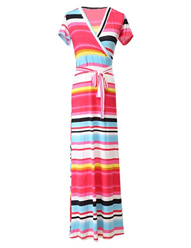Rainbow Dresses Belt Clothing Womens (Gogolan Women Summer V-Neck Rainbow Stripe Short Sleeve Floral Maxi Long Dress with Belt (Red, S))