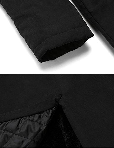 Abrigo Manga Chaqueta Negro Soteer Largo Invierno Parka Larga Mujer Capucha Caliente pdwqOgd