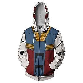 Adult Mens Gundam Char Aznable Amuro Ray Hoodies Coat Zip-up Jacket Gundam Cosplay Costume