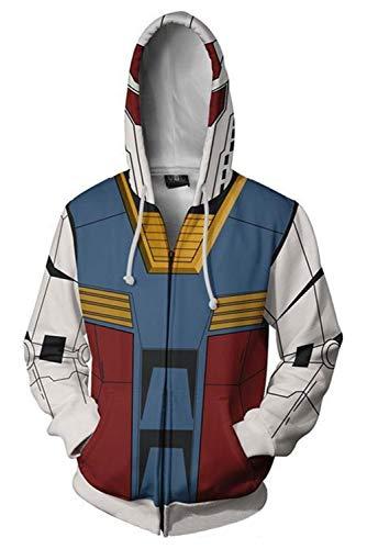 Adult Mens Gundam Char Aznable Amuro Ray Hoodies Sweatershirt Hoodie Coat Zip-up Jacket Gundam Cosplay Costume