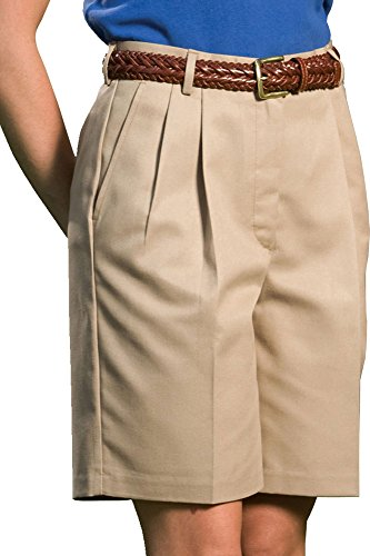 Pleated Walking Shorts - Edwards Women's Business Casual Pleated Short 9/9.5 Inchesinseam, KHAKI, 8