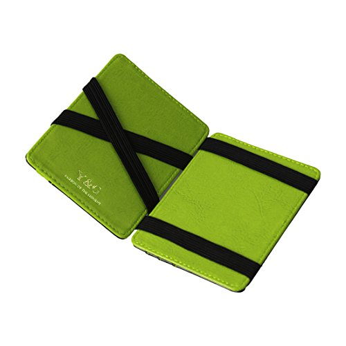 Y&G YCM020303 Black Green Yellow Leather Magic Wallet with Card Holders Luxury For Boyfriend With Gift Box