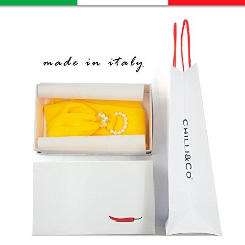 In Kobe Sciarpa Fermaglio Dure Naples Made Estivo Pietre Con Giallo Perle E Foulard Colore Original Di Donna Z7gxwFnBq
