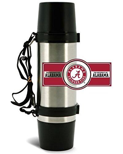NCAA Alabama Crimson Tide 40oz Double Wall Stainless Steel Outdoor Thermos (Crimson Thermos Tide Alabama)