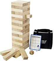 Giant Toppling Tower (Stacks to 4 Feet), Gentle Monster Large Size Wooden Timber Tower, Classic Outdoor Games