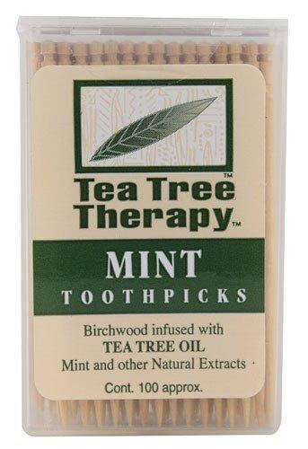 Mint Flavored Toothpicks - Tea Tree Therapy - Tea Tree & Menthol Toothpicks (100 count) (2-Pack)