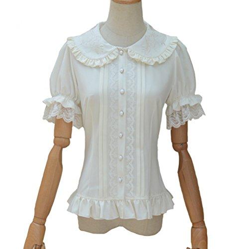 Smiling Angel Women's Doll Collar Bubble Sleeve Short Sleeves Chiffon Shirt Sweet Lolita Blouse
