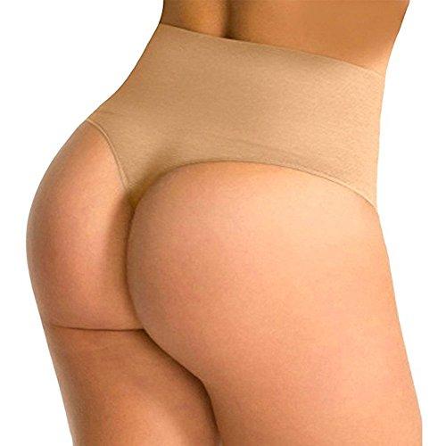 Evenriver Women Waist Tummy Shapewear Butt Lift Control Panty Thong Body Shaper,Beige,Large (Waist 26.5-28.5 Inch)