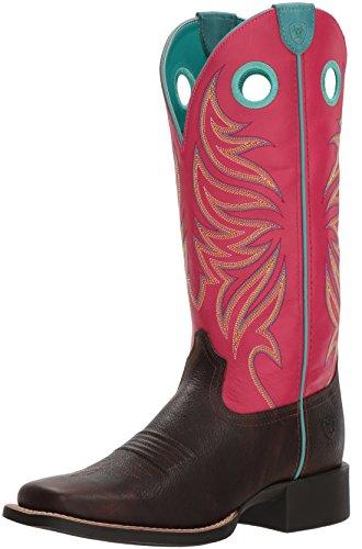 Chocolate Yukon - Ariat Women's Round up Ryder Western Boot, Yukon Chocolate/Magenta, 8.5 B US