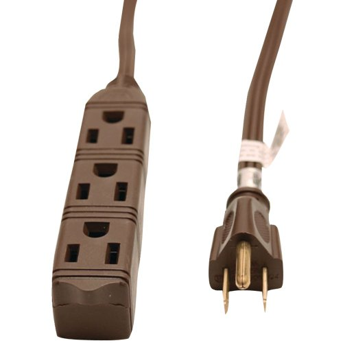 GE JASHEP50670 3-Outlet Grounded Office Cord, 8ft (Brown) (Jashep50670 3 Outlet Grounded Office)
