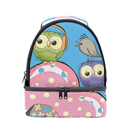 con térmica el correa para animados Bolsa Alinlo hombro con pájaros de ajustable para la y almuerzo de escuela dibujos para de diseño pincnic búhos a5IaTq6